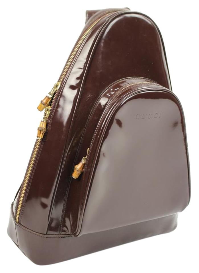 7d786245585b Gucci Backpack One Strap Ggty23 Maroon Patent Leather Shoulder Bag ...