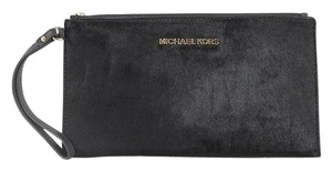 Michael Kors Zip Clutch Haircalf Wristlet in Black