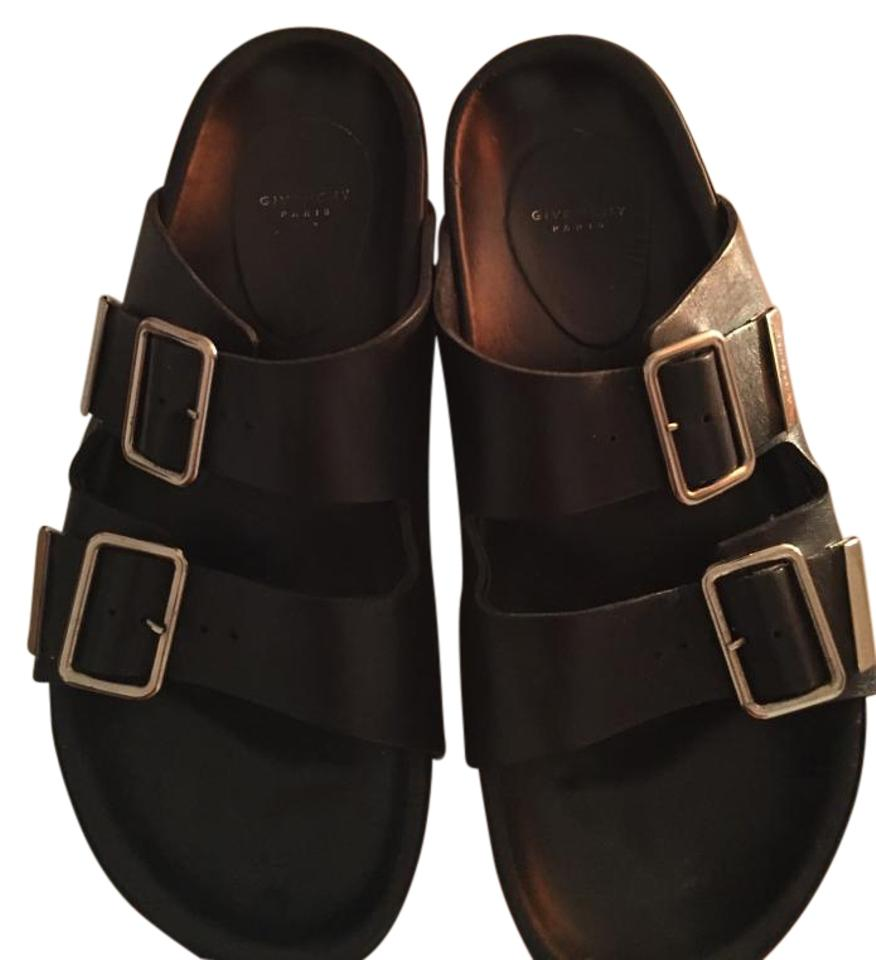 Givenchy Calf Leather Double Strap Slide Size 38 Black