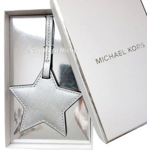 Michael Kors MICHAEL KORS Leather Metallic Silver Star Bag Charm Tag with Gift Box