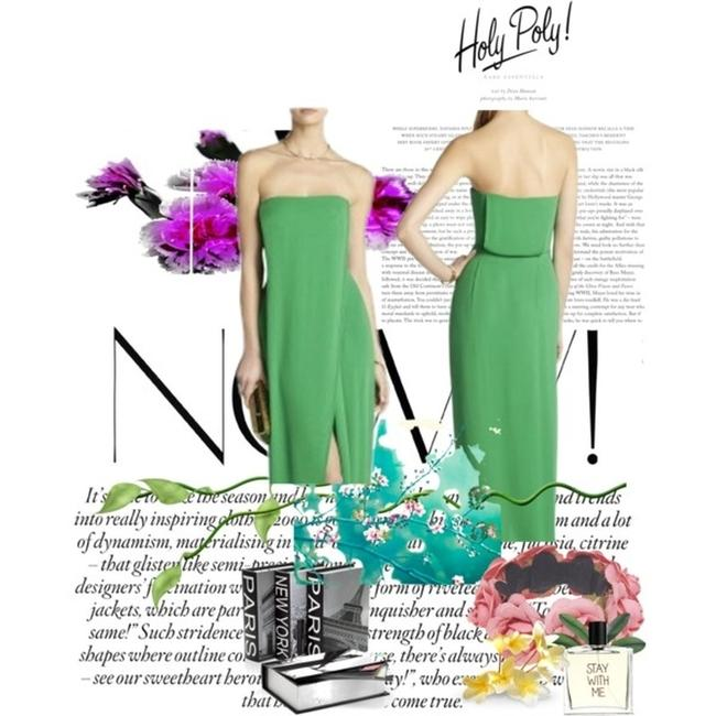 Item - Green Jesse Draped Strapless Gown Long Cocktail Dress Size 10 (M)