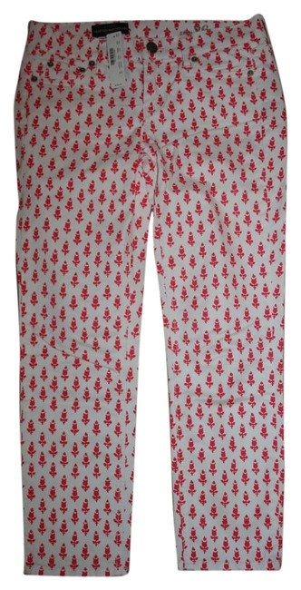 Item - White Multi Matchstick In Thistle Print Capri/Cropped Jeans Size 26 (2, XS)