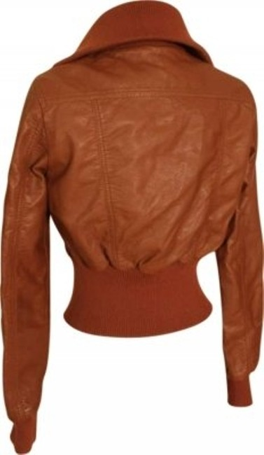 Jou Jou Aviator Faux 1940s Brown Leather Jacket