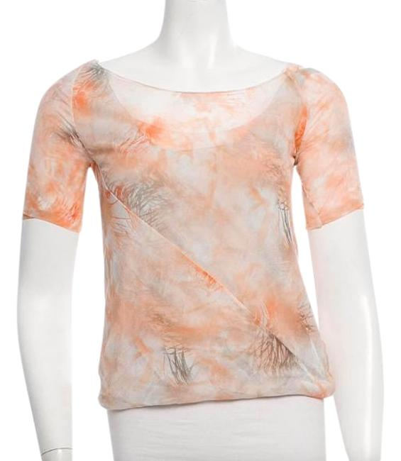 Preload https://img-static.tradesy.com/item/16666288/nina-ricci-peach-printed-short-sleeve-blouse-size-8-m-0-1-650-650.jpg
