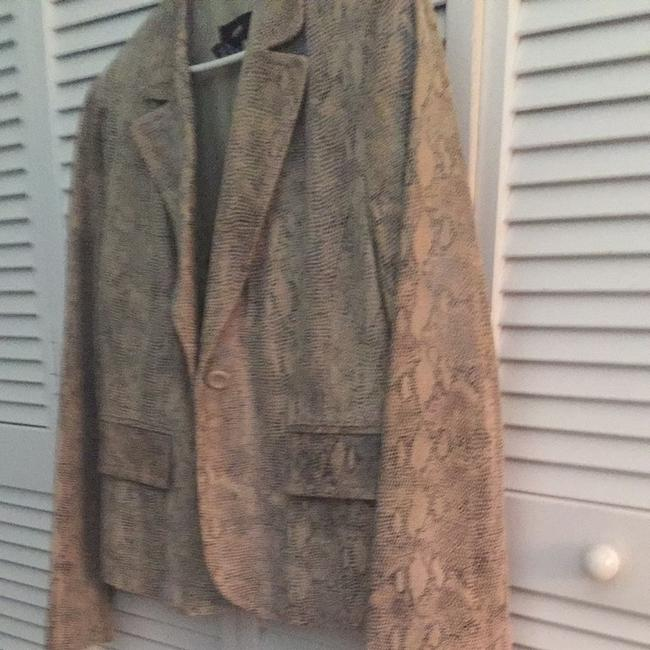 Alfani Beige Cream Black Snake Skin Look Jacket