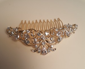 Gold Plated Cz Bridal Hair Comb