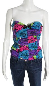 Betsey Johnson Roses Strapless Neon Rocker Top Purple