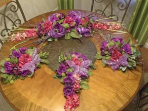 Rustic Purple Rose Butterfly Wedding Garland - 4 Pieces