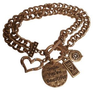 TAZZA Smile you are Beautiful Charm bracelet vintage gold