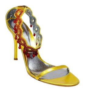 Sergio Rossi New Tagged Leather Beaded Gold/Red Sandals