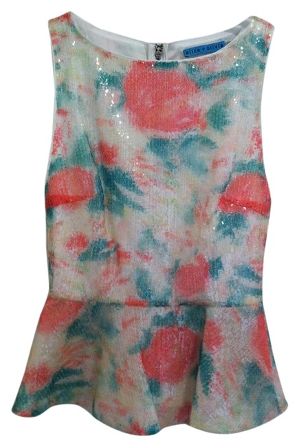 Item - Abstract Garden Sequin Pink White Green Top