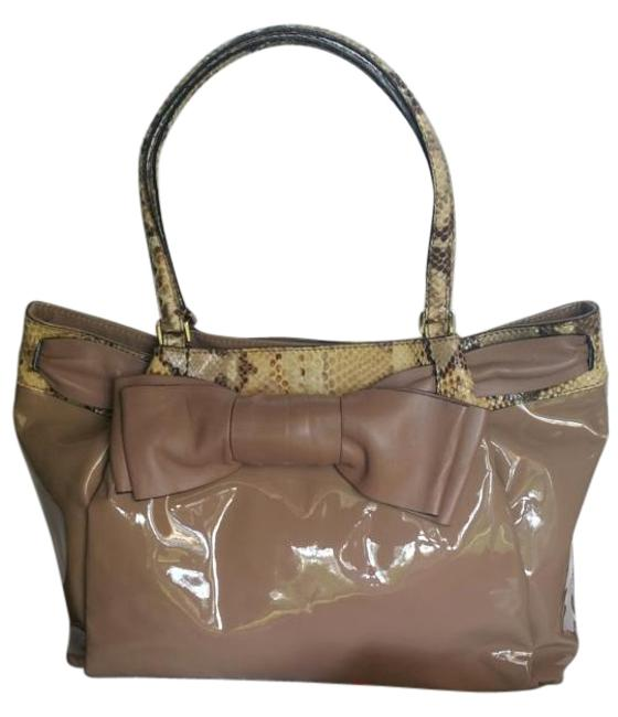 Item - Aphrodite Tan and Light Yellow Brown For Phyton Lambskin Leather Calfskin Leather Shoulder Bag