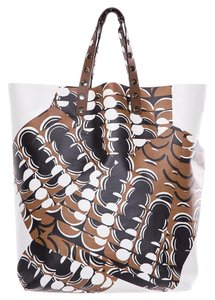 Marni Tote in White Brown Black Print