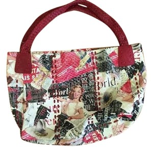 Cashhimi Hand Marilyn Monroe Tote in Multi-Colored, Red strap