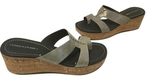 Donald J. Pliner Lining Marbled Cork Stitching Glittery silver nubuck leather Wedges