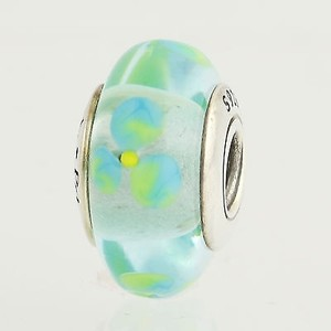 PANDORA Pandora Flowers Charm - Sterling Silver Clear Teal 790607