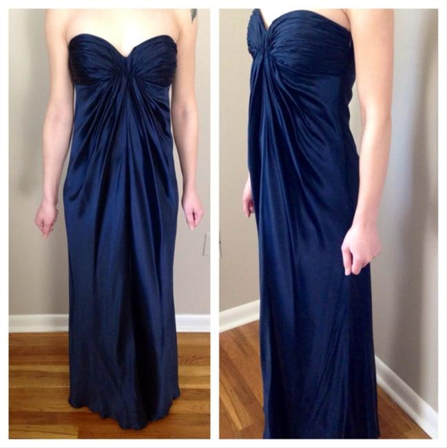 Laundry by Shelli Segal Navy Silk Charmeuse Column Evening Gown Maxi Wedding Maid Of Honor Bridesmaid Sapphire Pleated Strapless Prom Dress