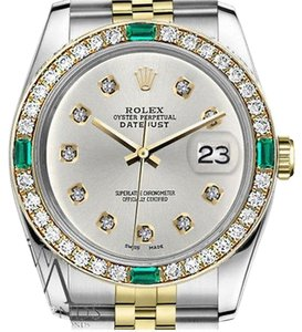 Rolex Rolex 36mm Datejust 2 Tone Silver Color Dial Emerald with 10Round Diamond Accent