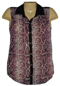 No Boundaries Sheer Python Snake Sleeveless Button Front Top Purple