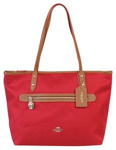 Coach F37237 Sawyer Black Tote in Classic Red