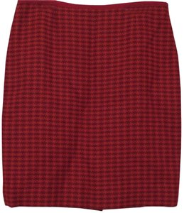 Tory Burch Skirt Red Houndstooth