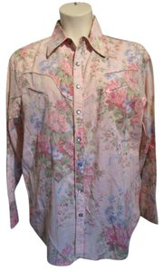 Lauren Ralph Lauren Cowgirl Cowboy Roses Button Down Shirt Pink Multi