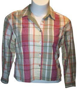 Christopher & Banks Long Sleeve Button Up Large Plaid Button Down Shirt Multi Color