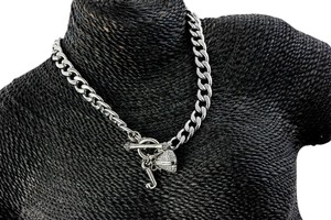 Juicy Couture Juicy Couture Heart Encrusted Crystal Charm Chain Necklace.