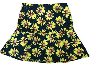 Sans Souci Flowers Sunflower Mini Skirt Black and yellow