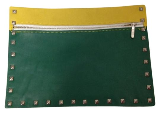 Unknown Lambskin Green and Yellow Clutch
