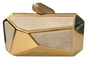 bebe Gold & White Clutch