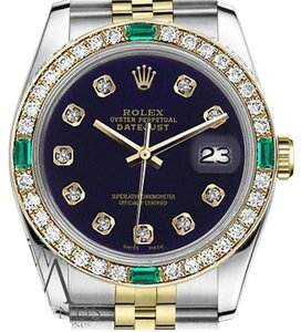 Rolex Ladies Rolex 26mm Datejust 2 Tone Purple Color Dial with Emerald Diamond Accent