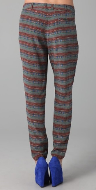 Mara Hoffman Designer Celeb Couture Runway Slouch Signature Tribal Print Exoctic Tiger Stripe Funky Lover Travel Silk Tribal Relaxed Pants Multi