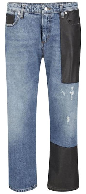 Item - Blue Medium Wash Distressed Patched Relaxed Fit Straight Leg Jeans Size 32 (8, M)
