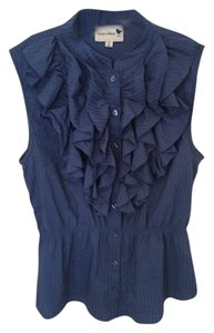 Anthropologie Ruffle Peplum Button Down Shirt Blue