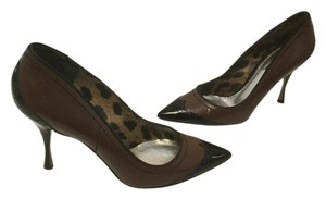 Dolce&Gabbana All Capped Toe Stilettos Italian E38 Brown leather black patent leather Pumps