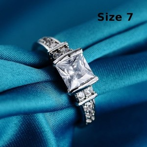 White Sapphire Engagement Ring Free Shipping