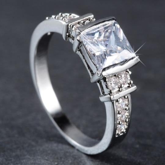 Silver White Sapphire Free Shipping Engagement Ring