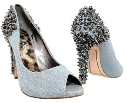 Sam Edelman Studded Denim Lorissa Open-toe Spiked Spike Spikes Studs Heel Edgy Blue Pumps