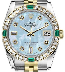 Rolex Rolex 36mm 2 Tone Baby Blue Mother Of Pearl 8+2 Emerald Diamond