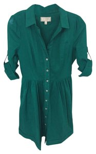 Anthropologie short dress Green Button-down 3/4 Sleeve Collared on Tradesy