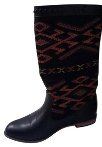 Black with Orange and Gold Pattern Boots