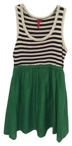 Anthropologie short dress Green Striped Empire Waist on Tradesy