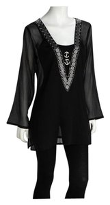Ash & Sara Black Beaded Sheer V-Neck Tunic