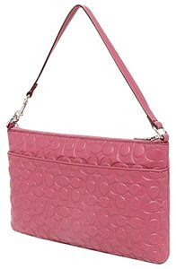 Coach Tb Mk Gucci Signature Pebbled Leather Wristlet in Sunset Red
