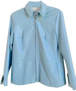 St. John Sport Size Small Lamb Leather Jacket Marie Gray Sky Blue Blazer