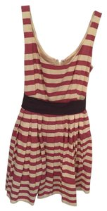 Anthropologie short dress Red and White Striped Bold Empire Waist Sleeveless on Tradesy
