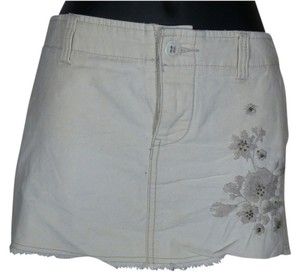 Roxy Summer Embroidered Mini Skirt Ecru