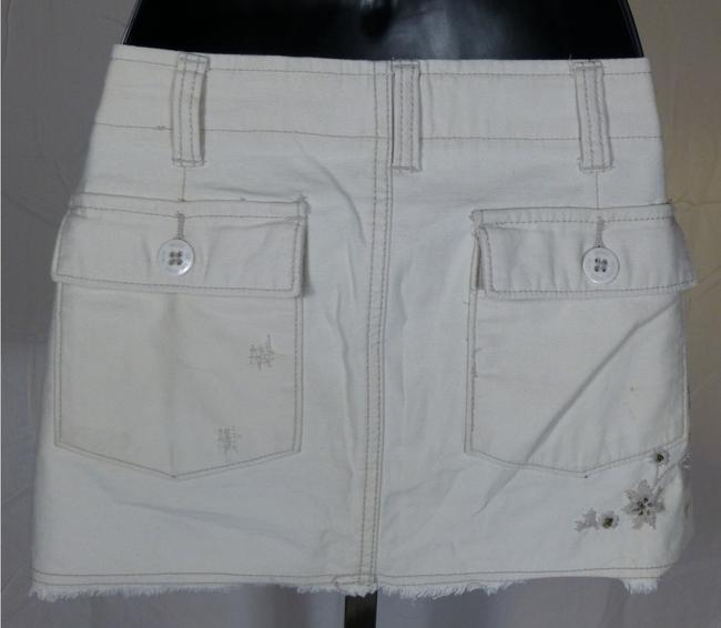 Roxy Summer Embroidered Hip Trendy Mini Skirt Ecru