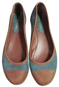 Nine West Suede Leather Brown and Teal Flats